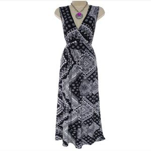 1X 16▪️BLACK & WHITE PRINT MAXI DRESS Plus Size